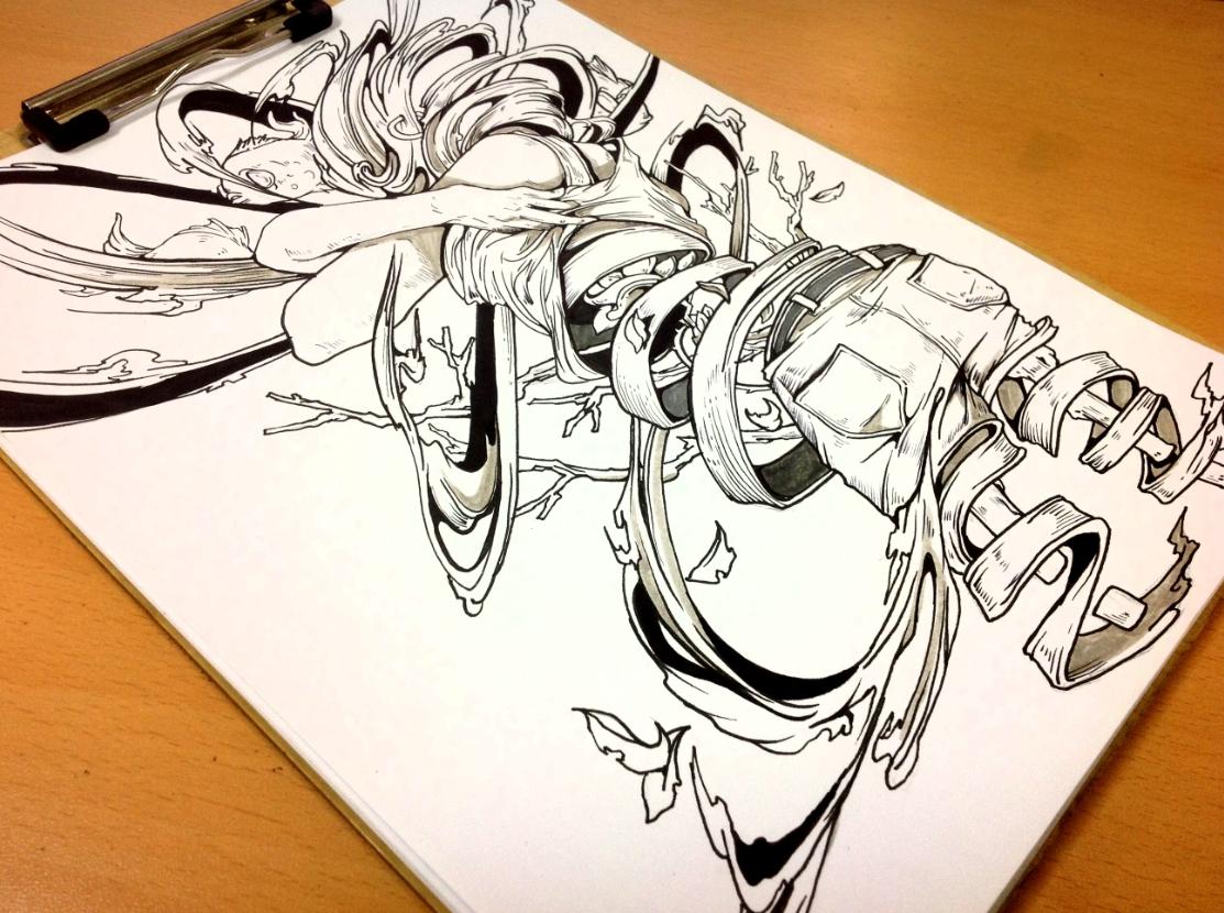 1000DAY bomb abrasion hole decompose emotions Illustrator