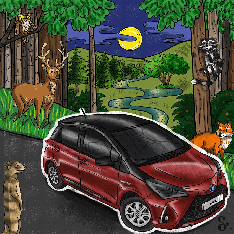 ILLUSTRATION  illustrasyon toyota hybrid Toyota Hybrid Yaris car automobile Technology ad
