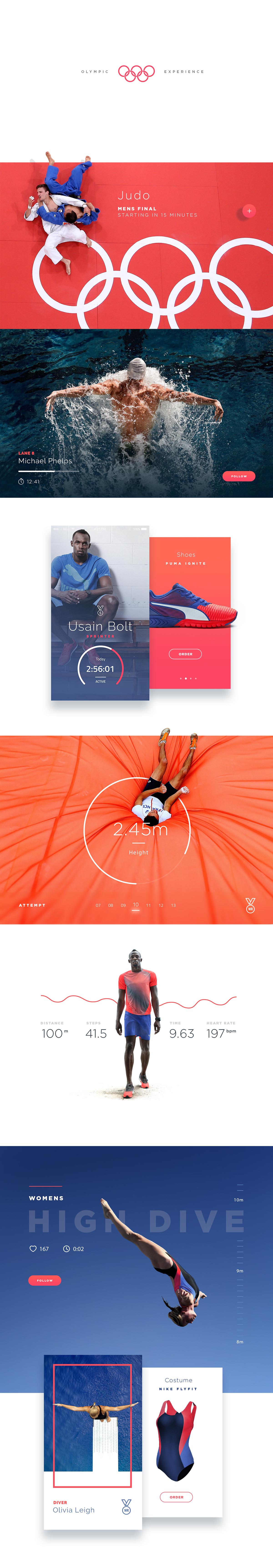 Website design ux UI Olympics rio Interaction design