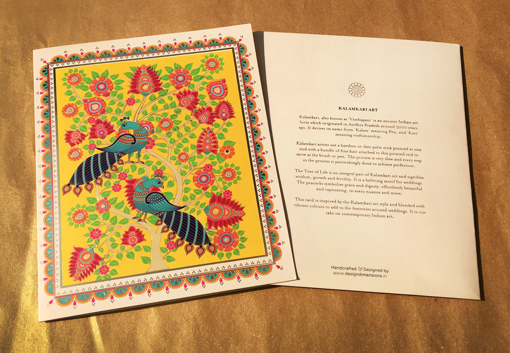 Kalamkari art inspired invitation on behance each invitation has a meaning a reason for its being a beautiful note is written on kalamkari art and the tree of life its symbolism and the essence of stopboris Images