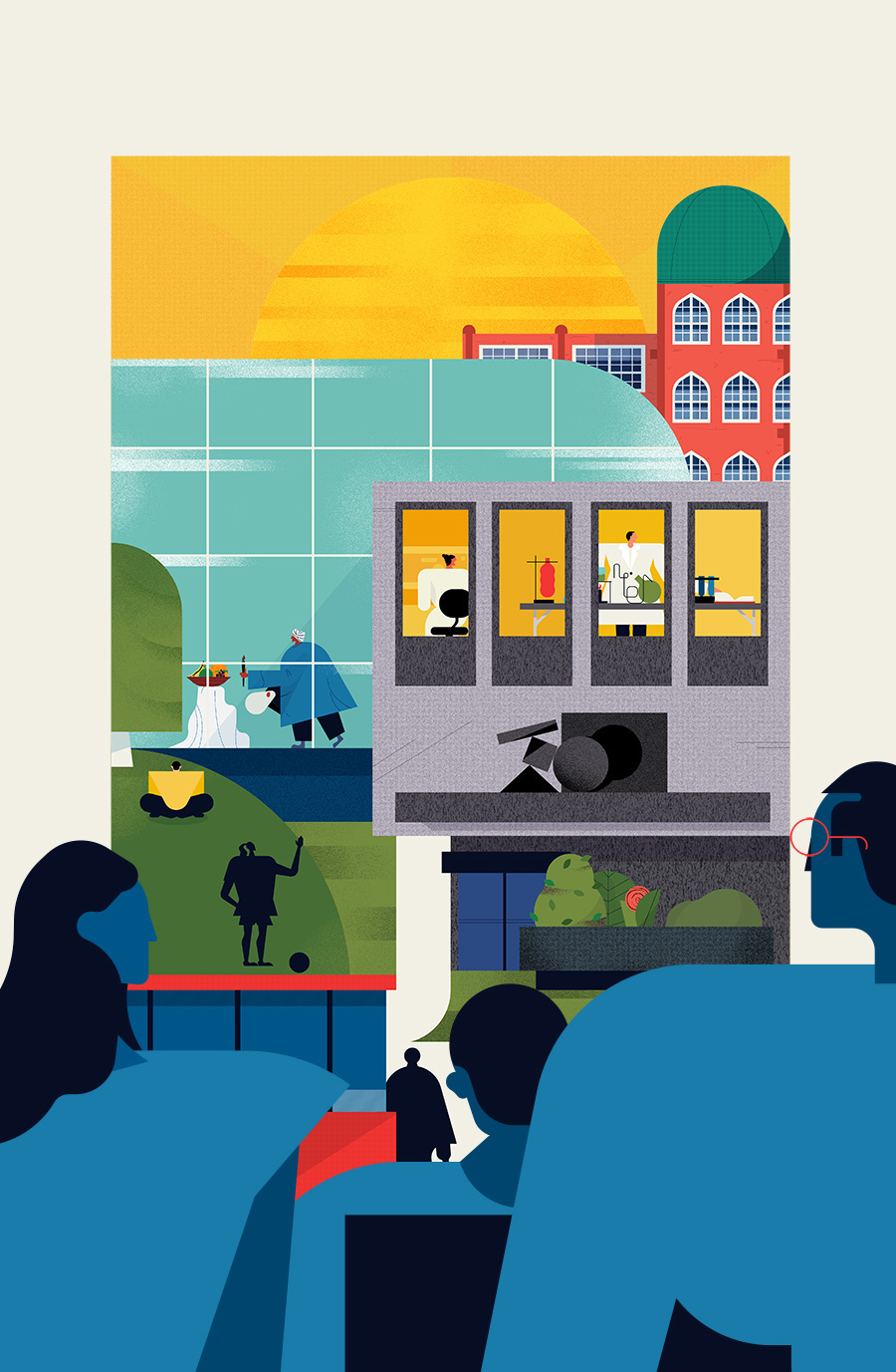 adam avery illustration the guardian university guide group of people looking at buildings
