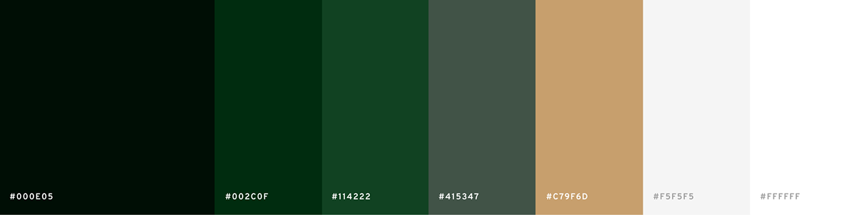 Color palette. Very dark green; dark green; green, light green; gold