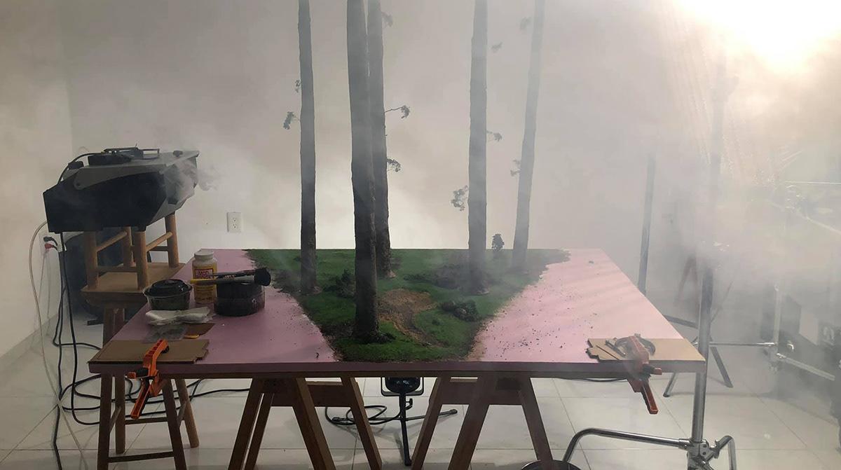 Cyberpunk dreams fiction forest glow Miniature rider scale diorama