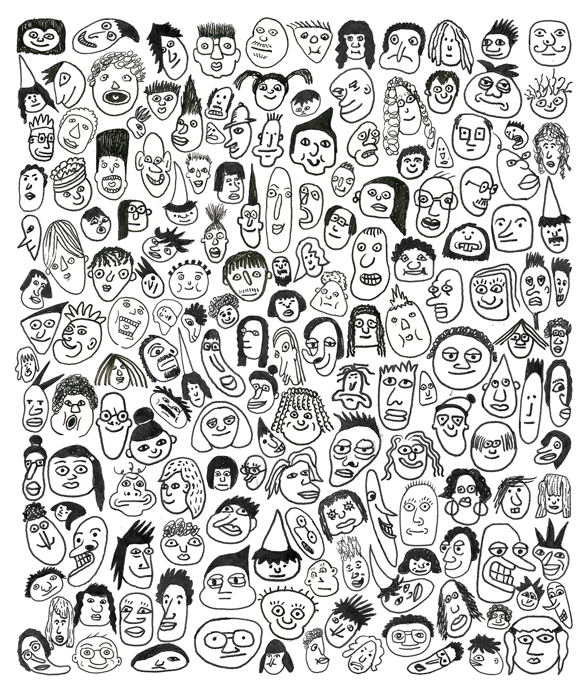 doodles imagination faces portraits characters sketches pattern funny pen