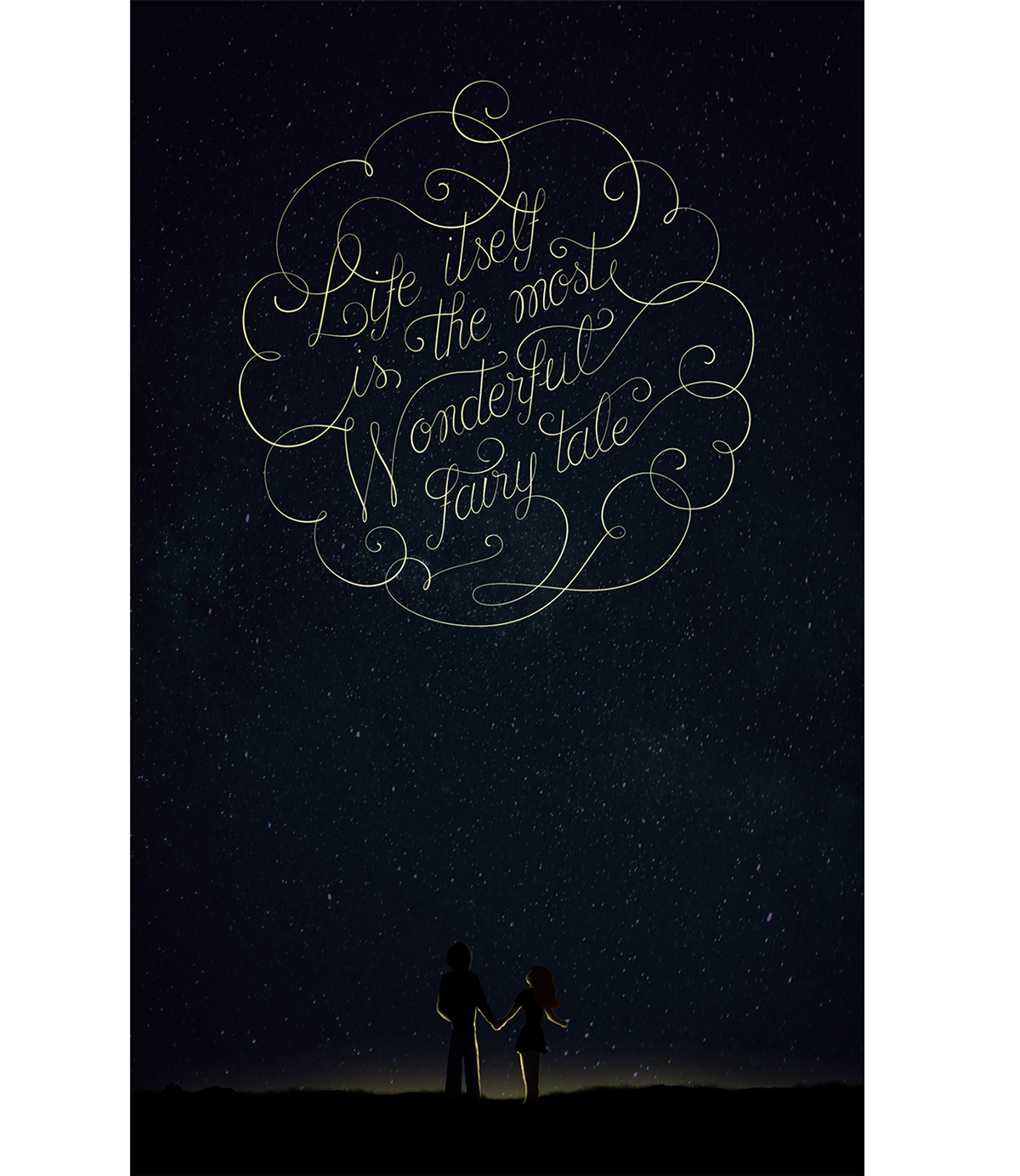 fairy tale poster lettering mountain Space  dream graphic art andersen HAND LETTERING papaya