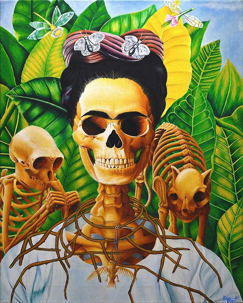Image may contain: cartoon, painting and skull