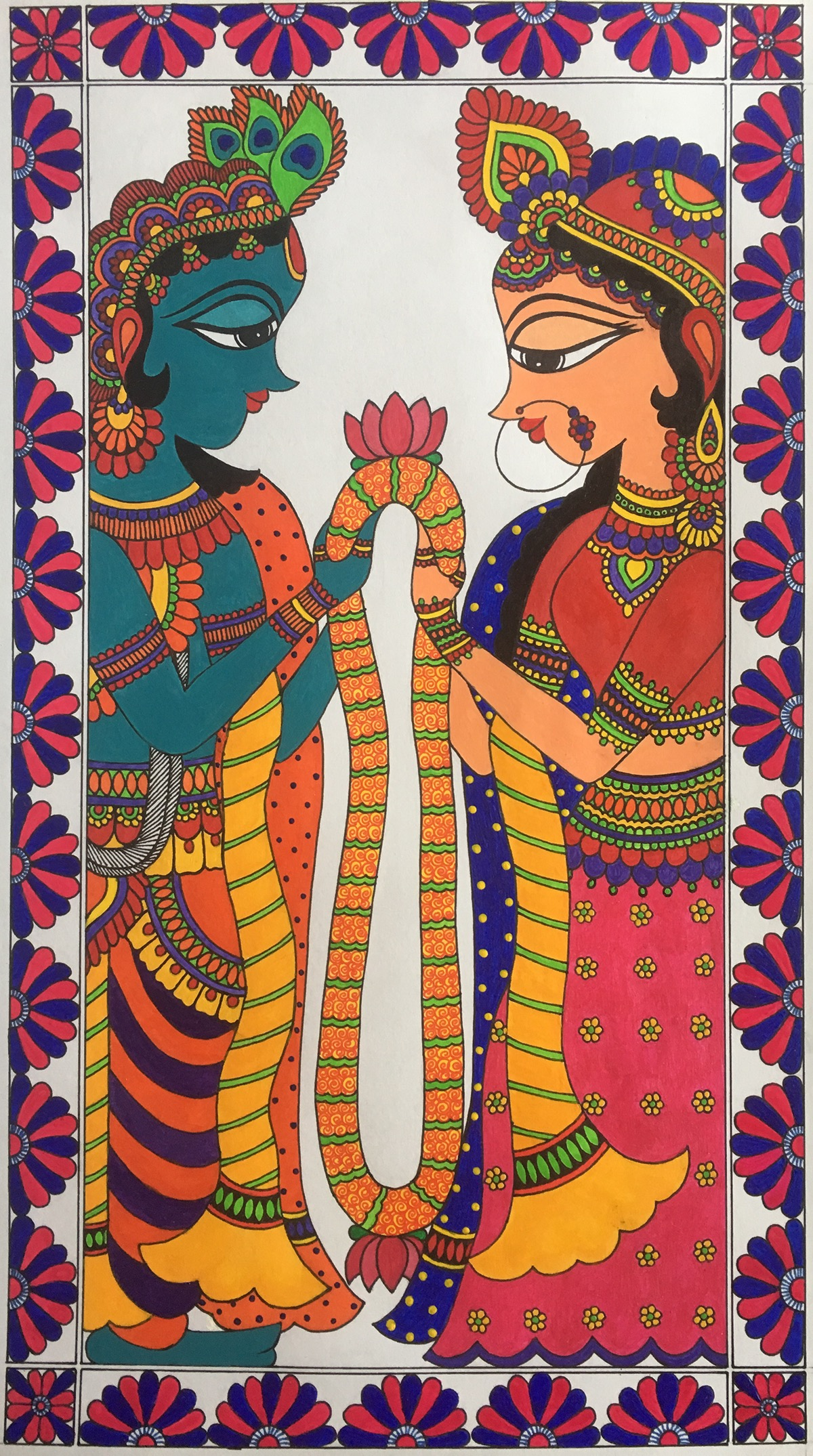 Kalamkari madhubani phad wedding invitation ganesha Radha Krishna tree of life Indian folk art Folk Paintings