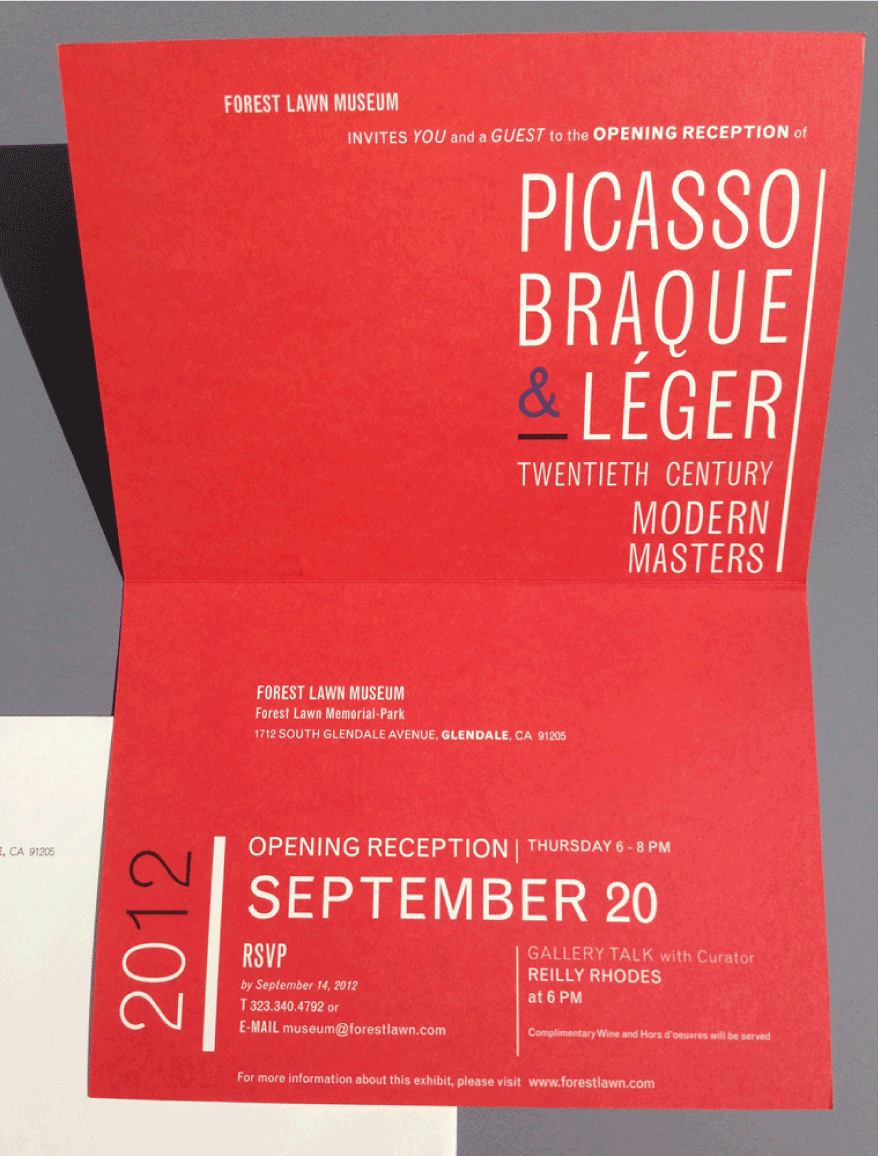 Forest Lawn Museum Picasso exhibit invitation on Behance