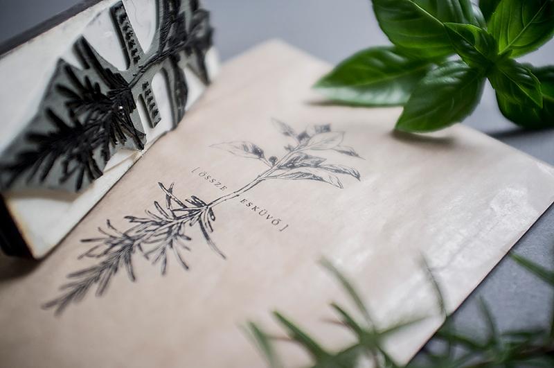 wedding zsofidobos Basil rosemary Invitation Card herbs