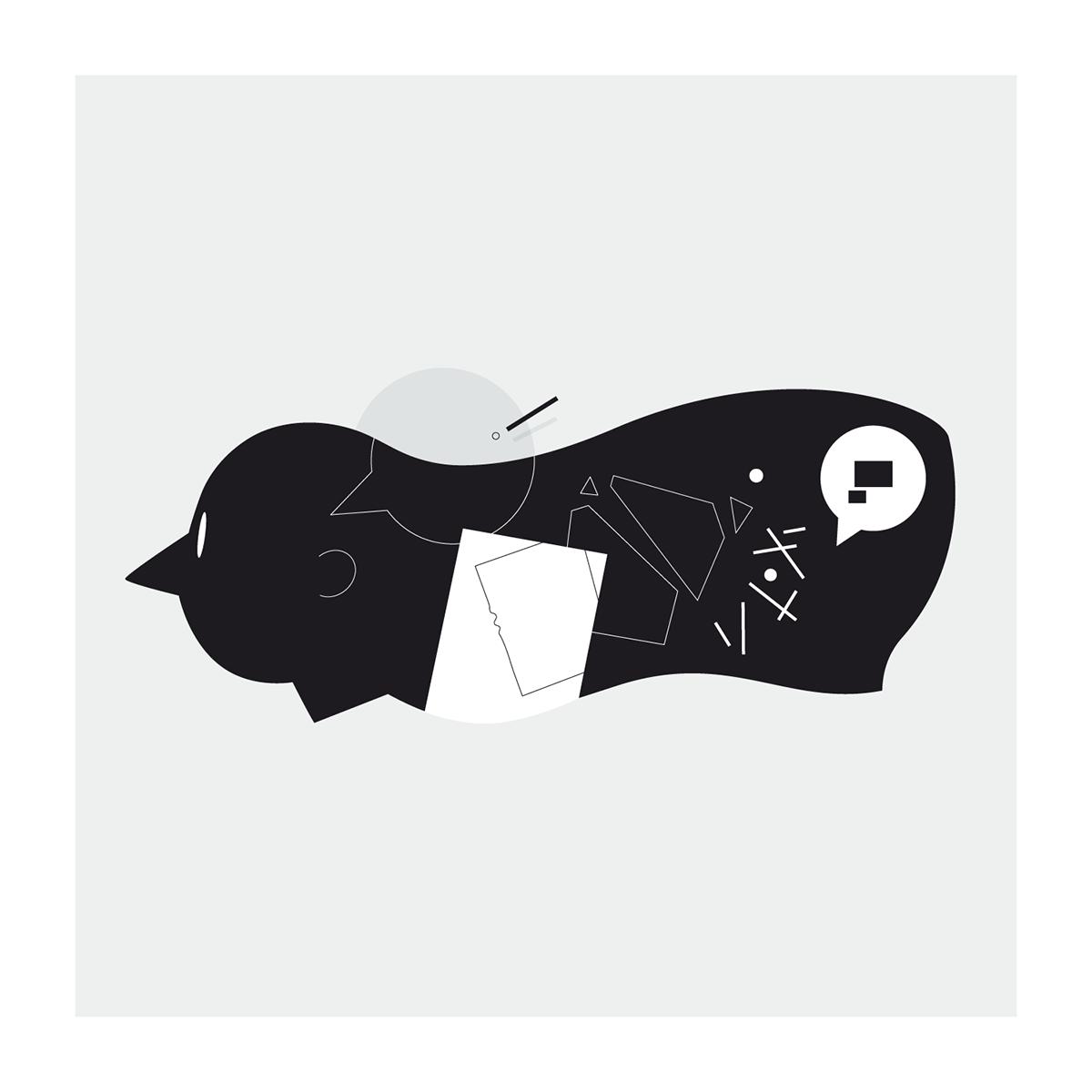 minimalistic lineart monochrome fears psychology fear Work