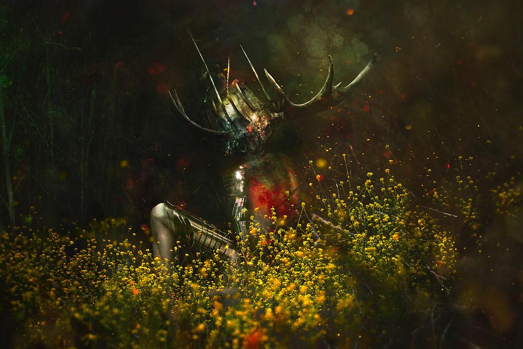 photomaniplation dark art dark forest Dark Forest surreal dark surrealism artistic nude skull circles
