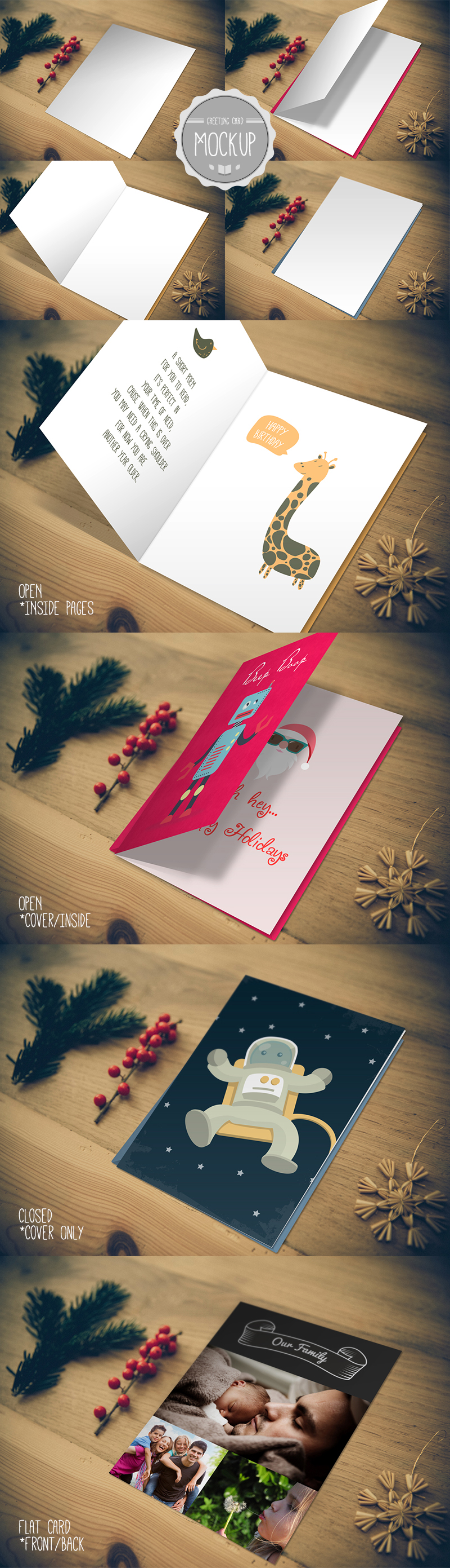 Greeting card mockup photoshop psd template on behance m4hsunfo