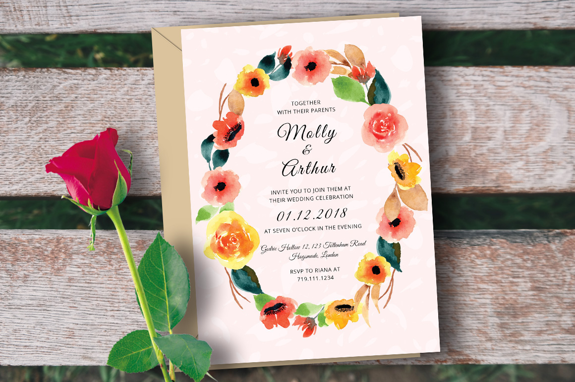 Free Psd Template Watercolor Floral Wedding Invitation On Behance