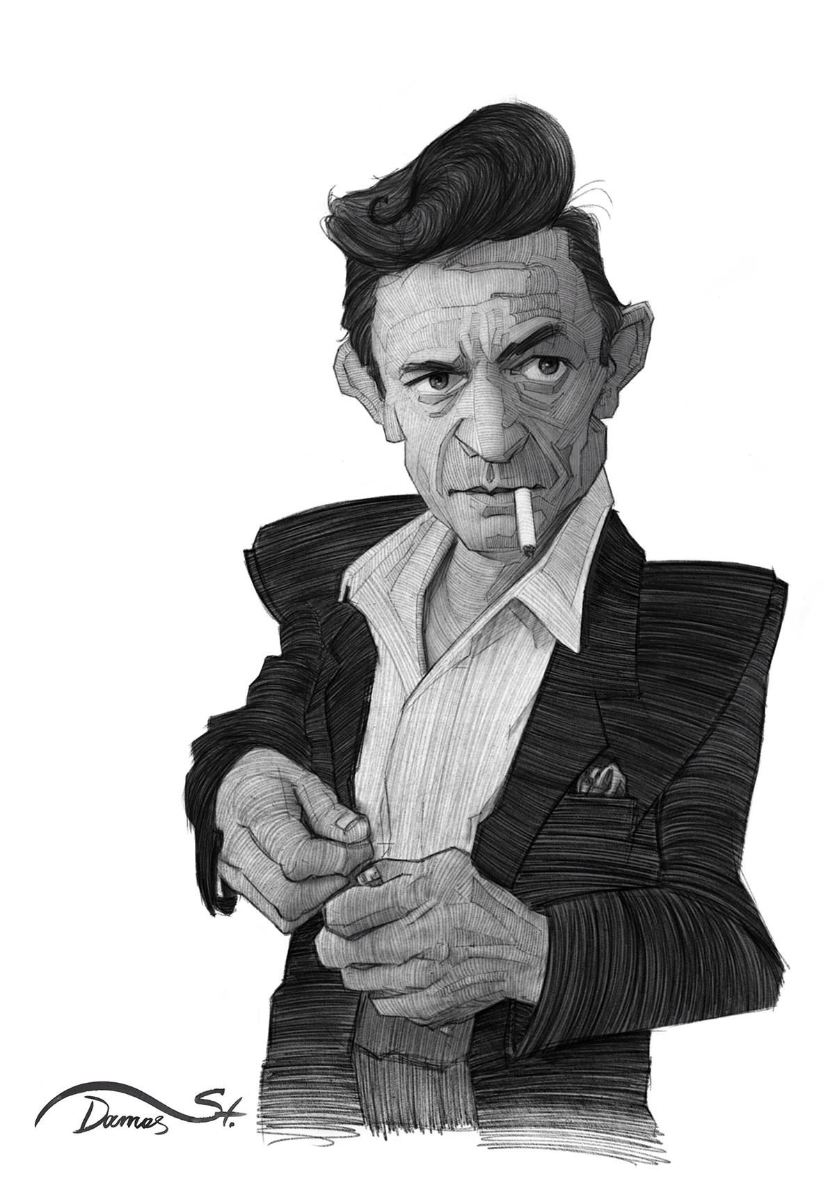 sketch portrait caricature   famous editorial musician legend Singer