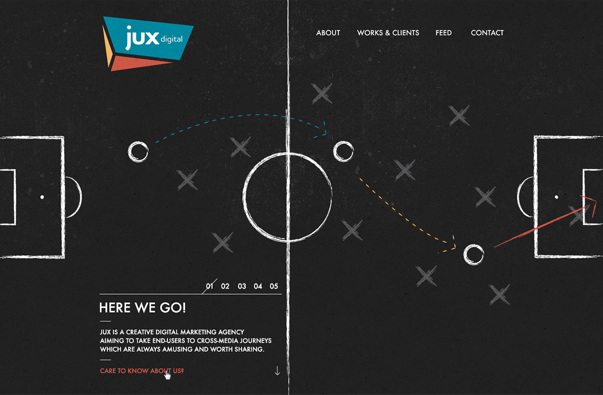 Jux Digital agency Website Single Page One Page html5 dark grey blue yellow red paralax