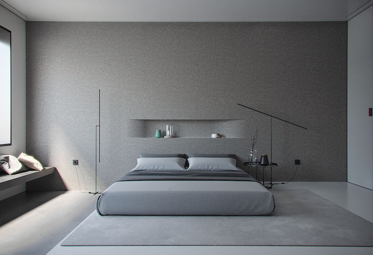 Minimalist style bedroom on Behance