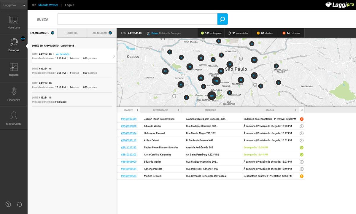 dashboard Logistics e-commerce Startup