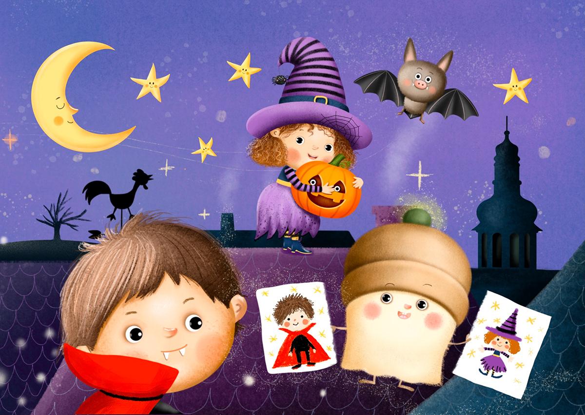 Character design  children cute Digital Art  ghost Halloween ILLUSTRATION  pumpkin witch