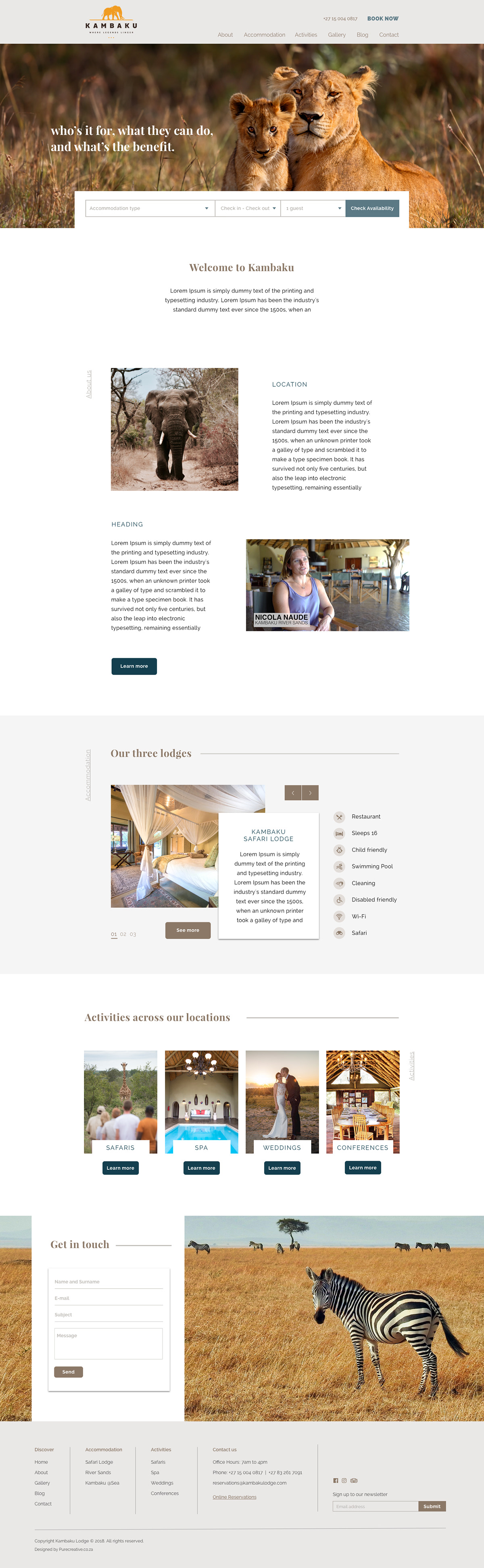 safari Website UI/UX accommodation website Web Design  wireframing Safari accommodation africa Safari Website wildlife