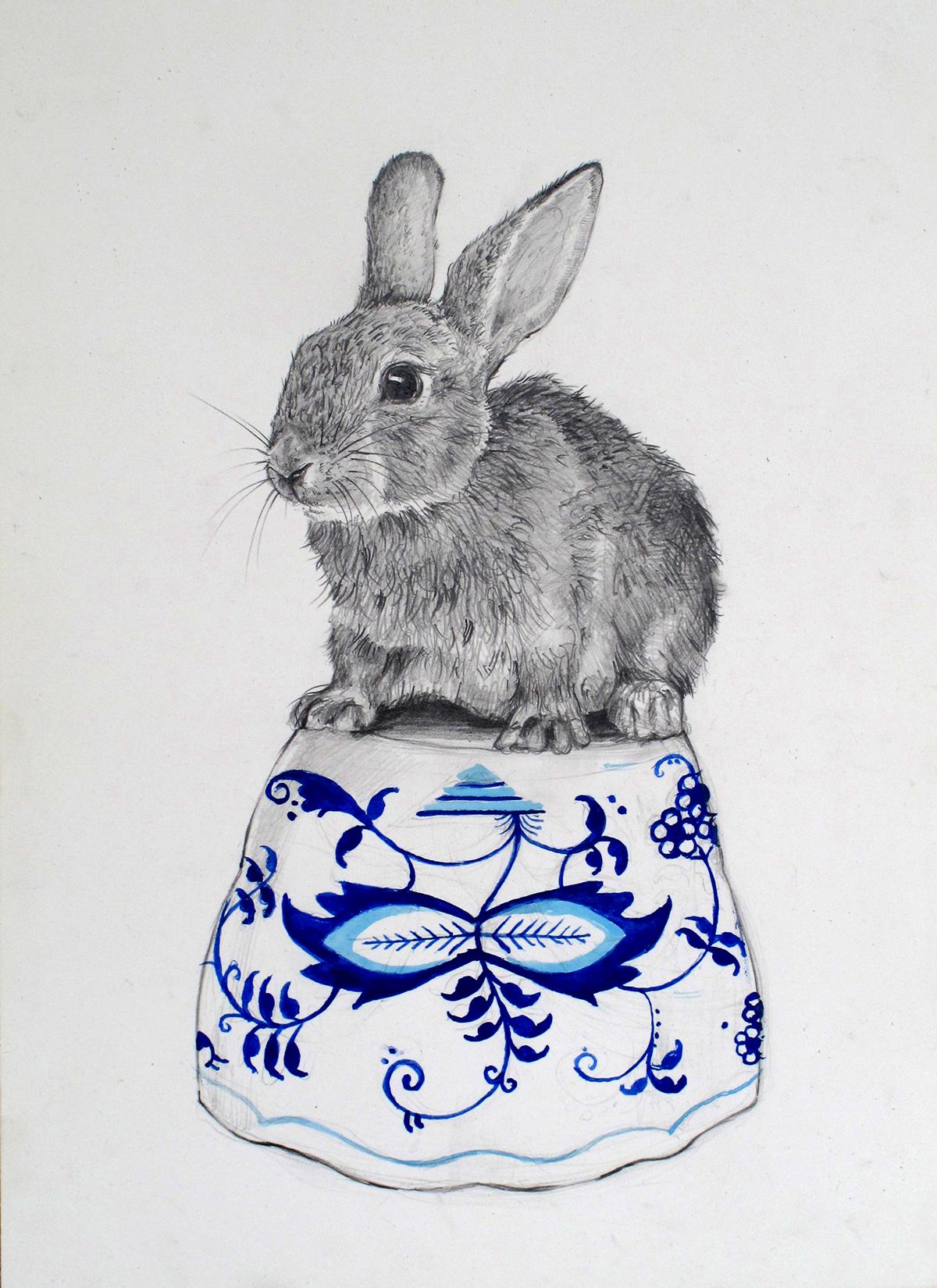 animals dometic graphite watercolor
