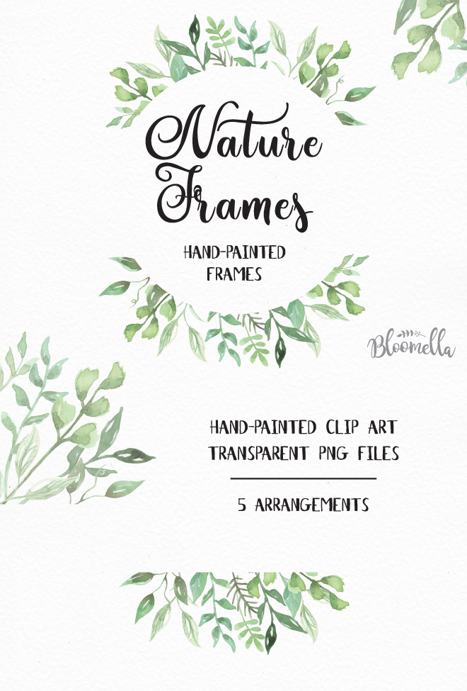 Watercolour Hand-painted Leaf Frames on Behance