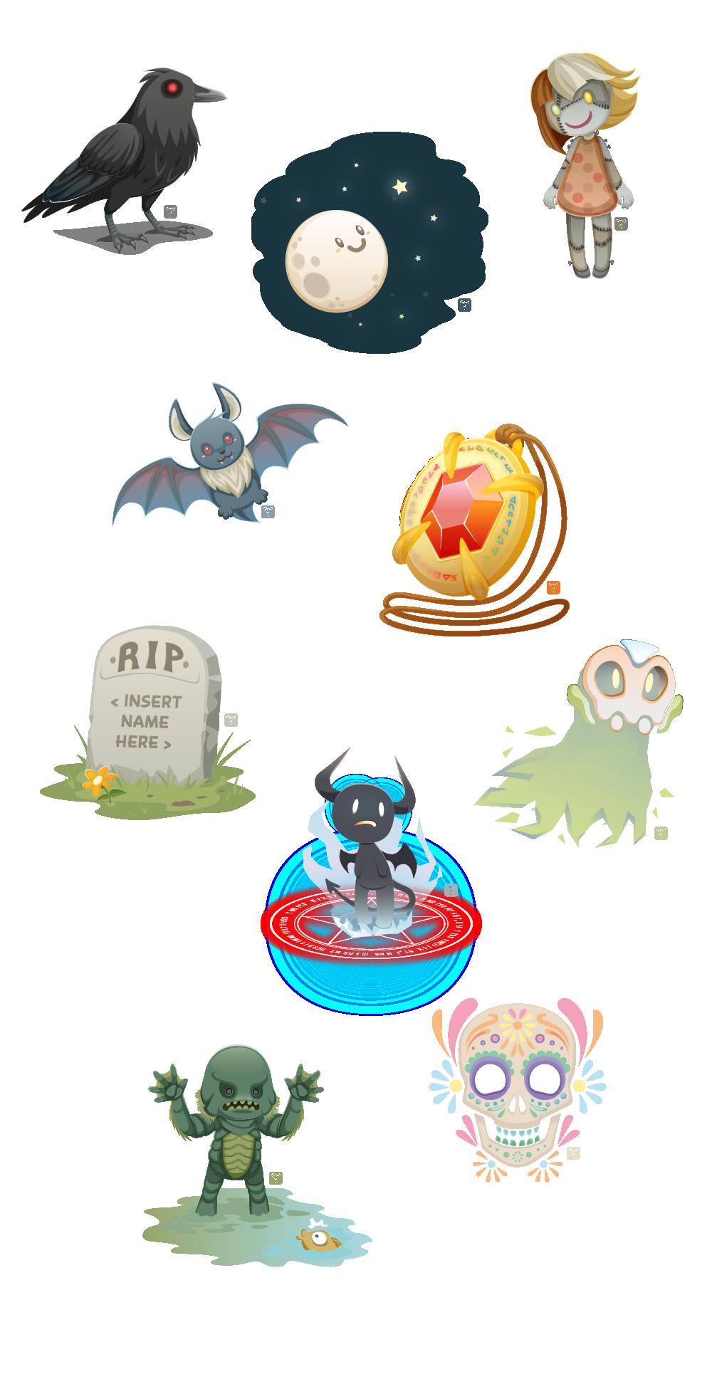 Halloween inktober drawlloween vector art zombie doll crow moon bat amulet grave mask ghost demon monster