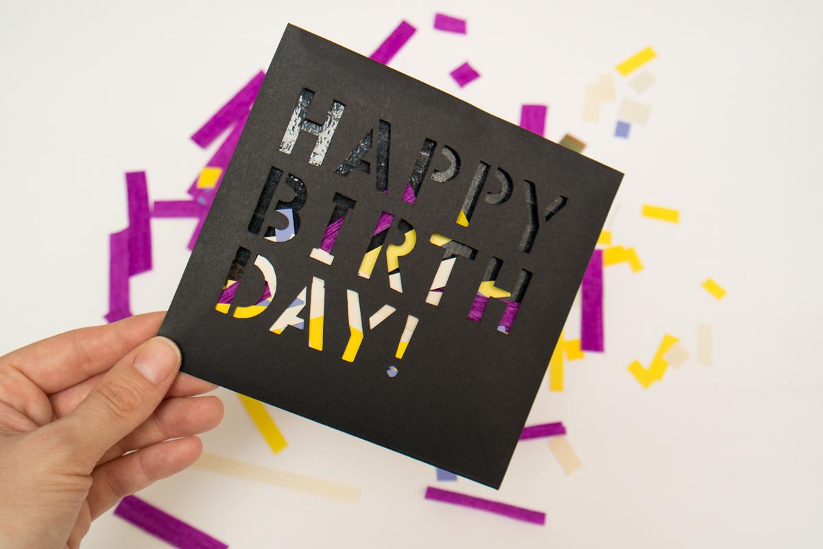 birthday card handmade cards happy birthday paper font stencil postcard papercraft