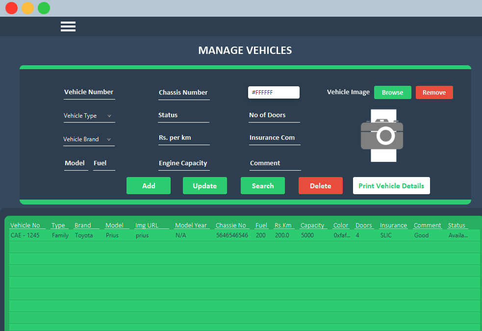 Manage Vehicle UI