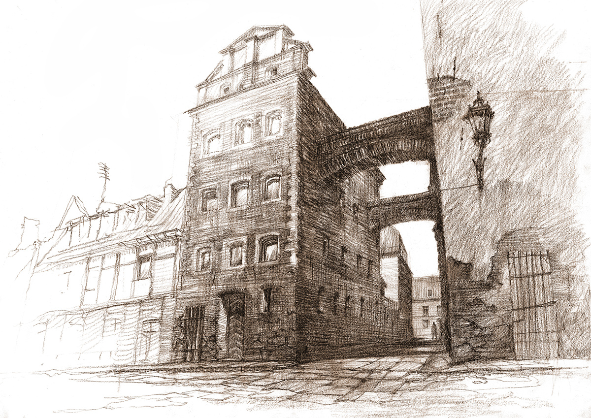 architectural architecture Drawing  sketch Perspective plen air