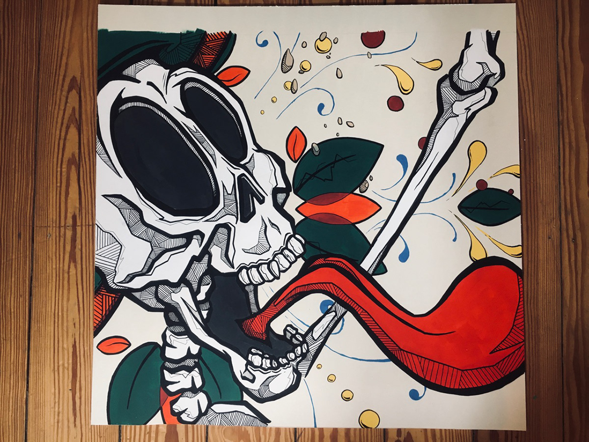 Acrylic paint advertisement Coming Soon Mexican Mexican Art Mexican Food skeleton skull sugar skull Tacos