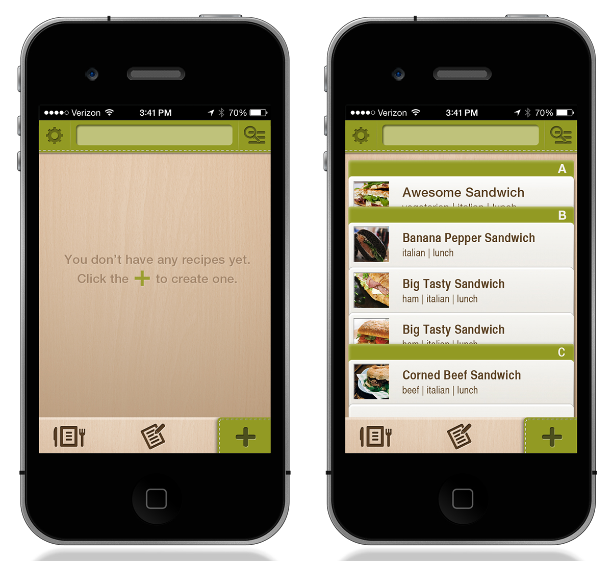 app mobile Food  recipe meal planning wire frames ia nutrition