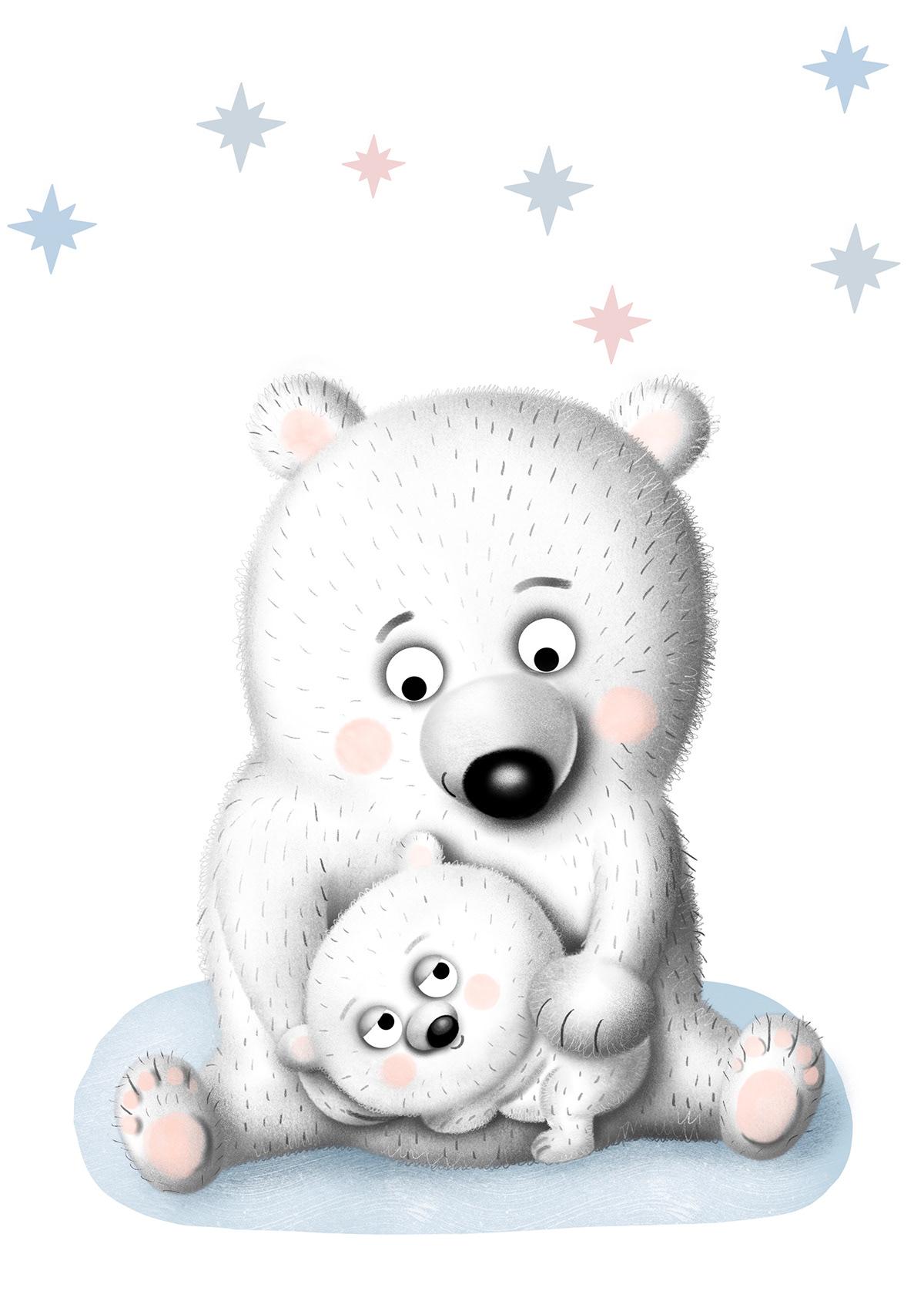ILLUSTRATION  Love mother Polar Bear snow winter