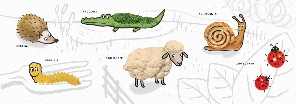 fruits veggies vegetables animals Animal food hybrids animal hybrids modern surrealism retouching  childrens illustration