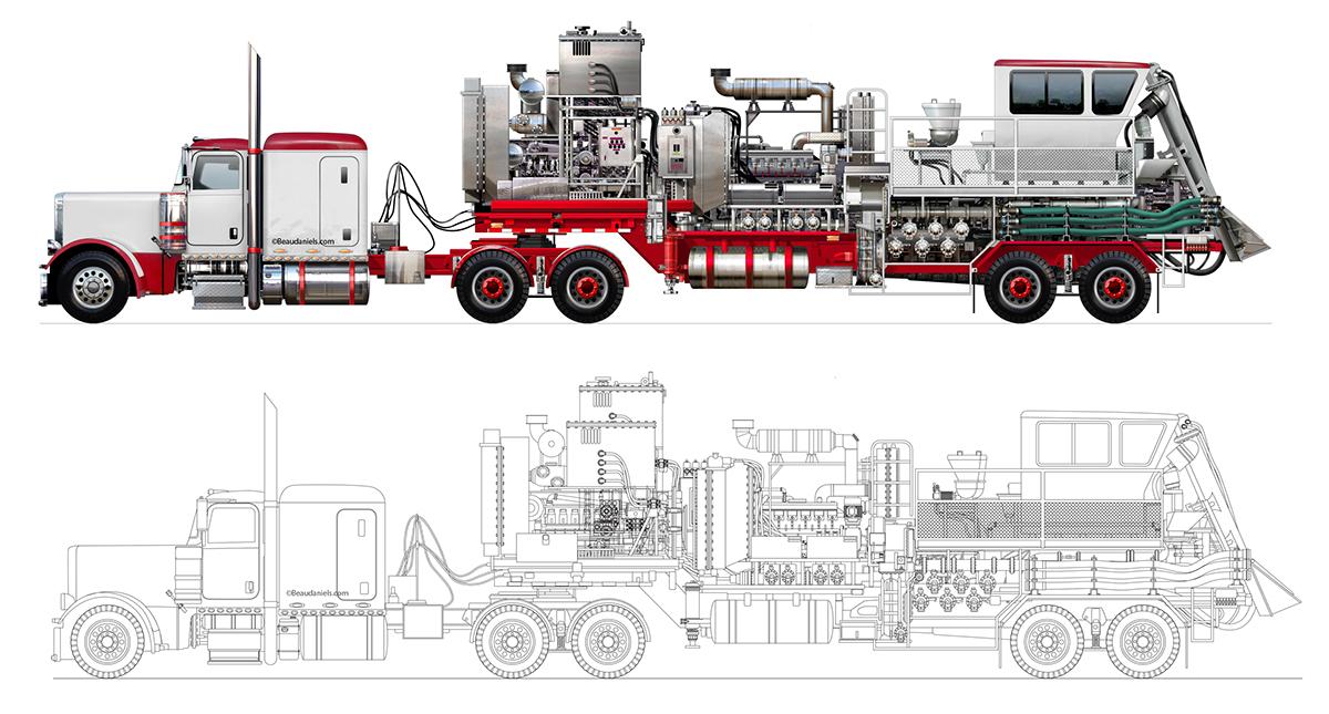 Oil Field Trucks, coiler, blender, fracking, etc  on Behance