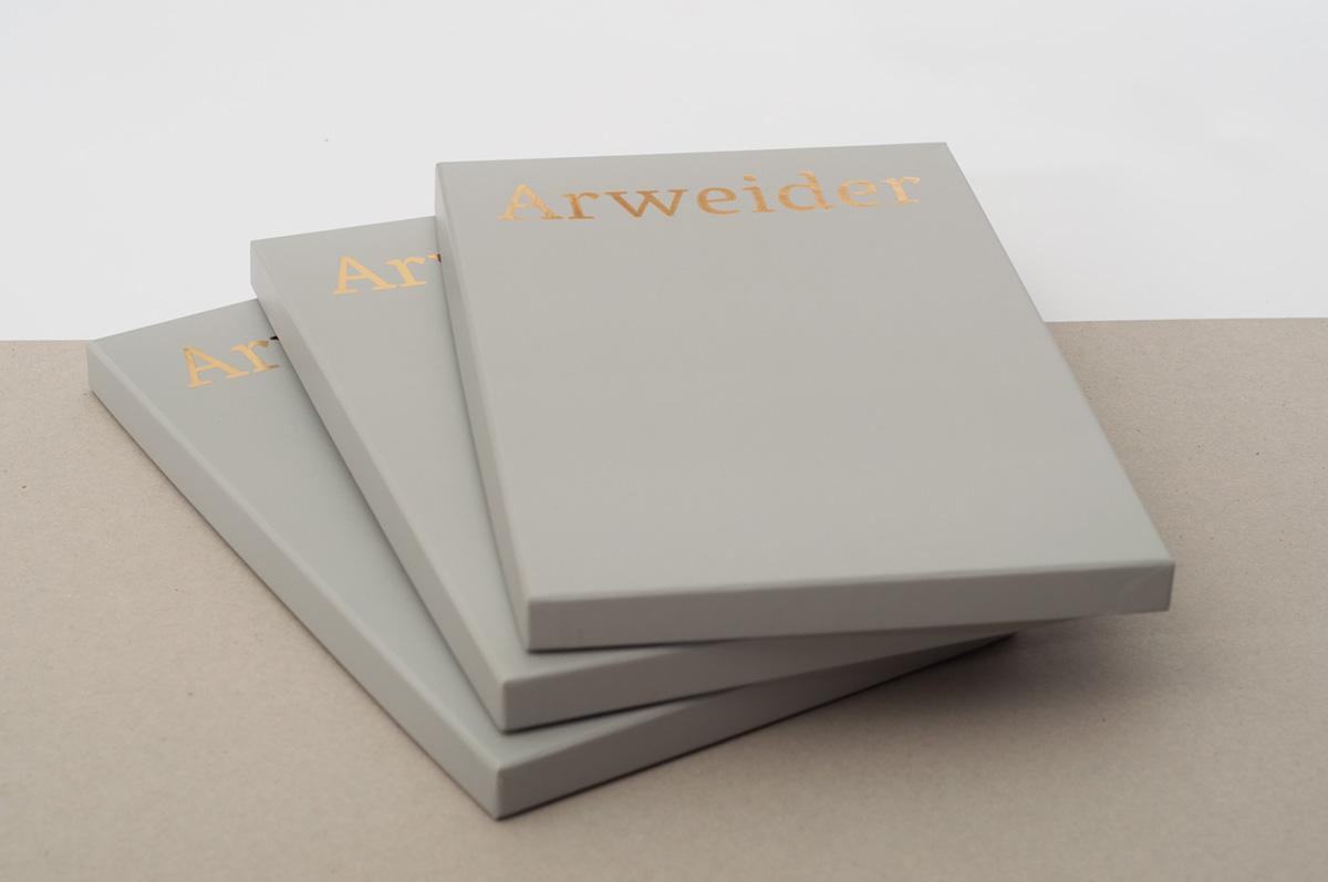 journal artist Catalogue box gold letterpress drawings paper grey