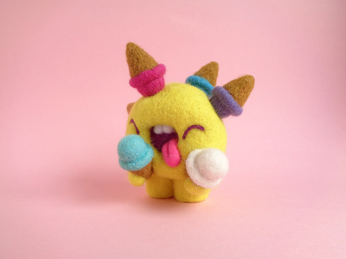 Needle felted ice cream art toy