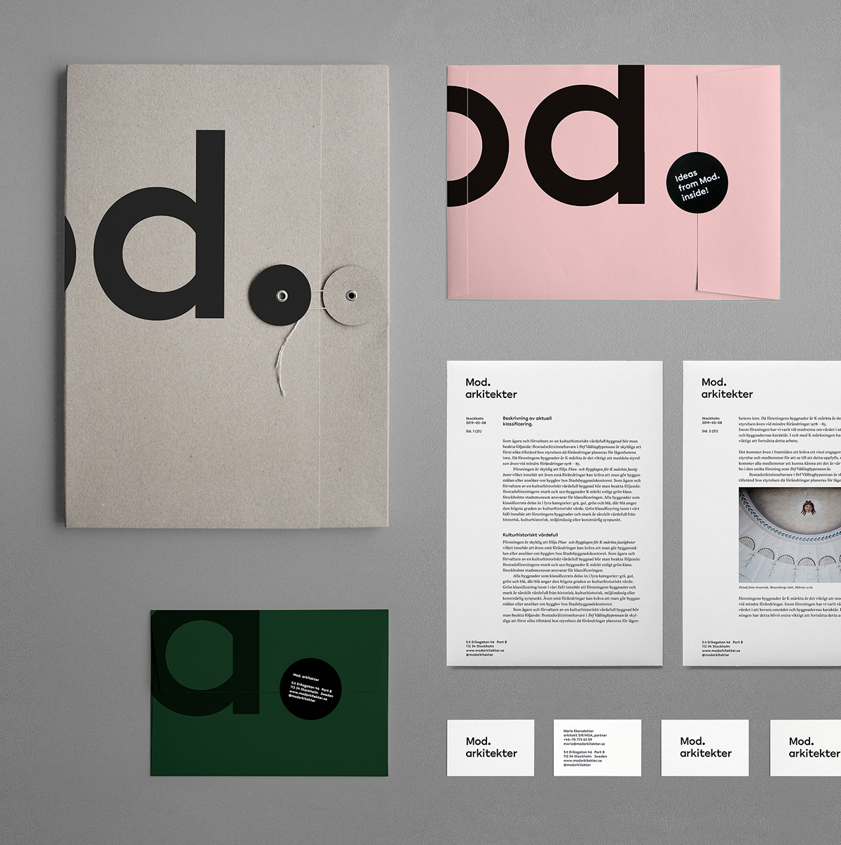 Art direction and design of the visual identity and web site for stockholm based architectural office mod mod works with development of new projects and