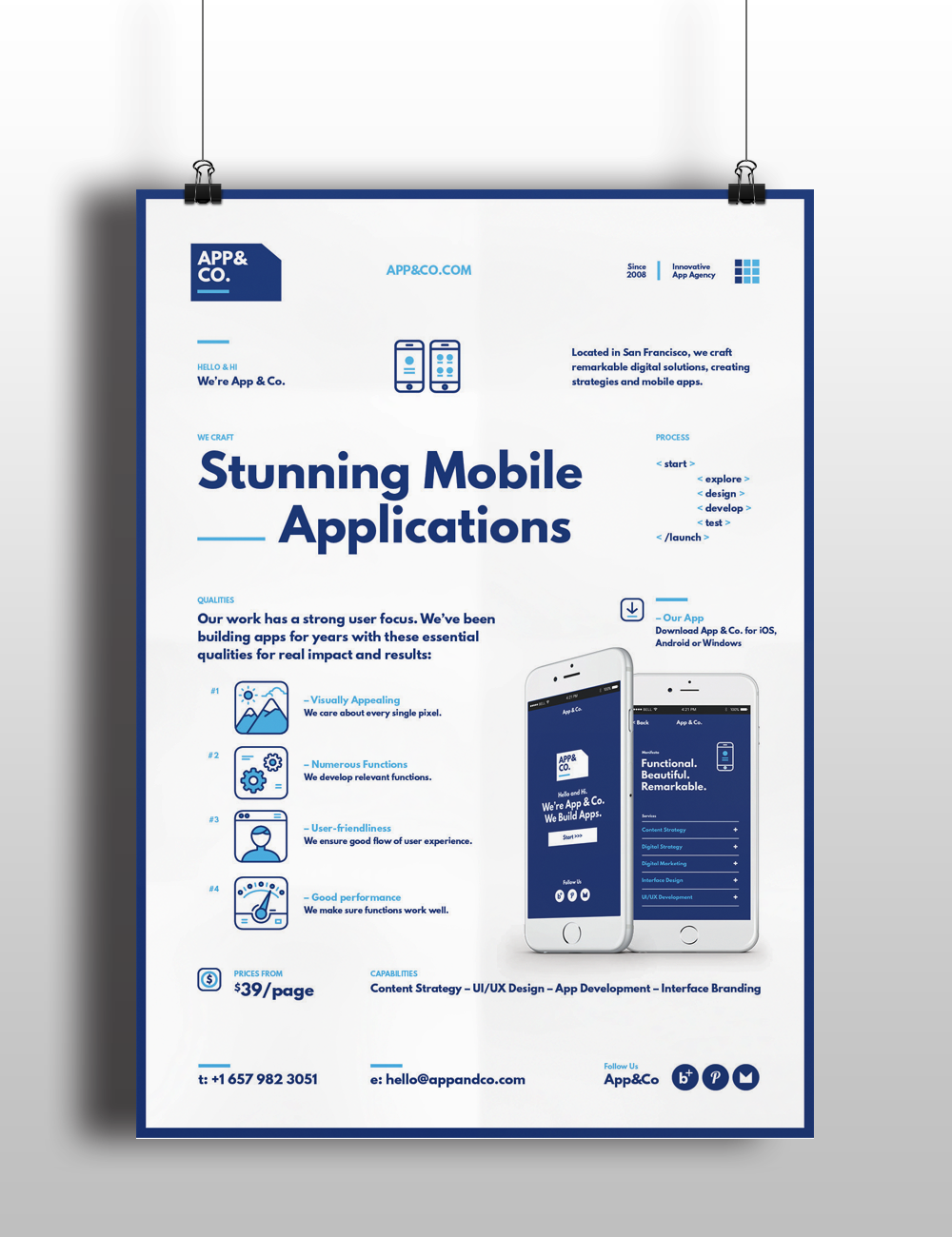 Poster design app android - A Set Of 4 Mobile Application Flyer Poster Templates Created For App Studios Or Agencies To Promote Their App Design And Development Services