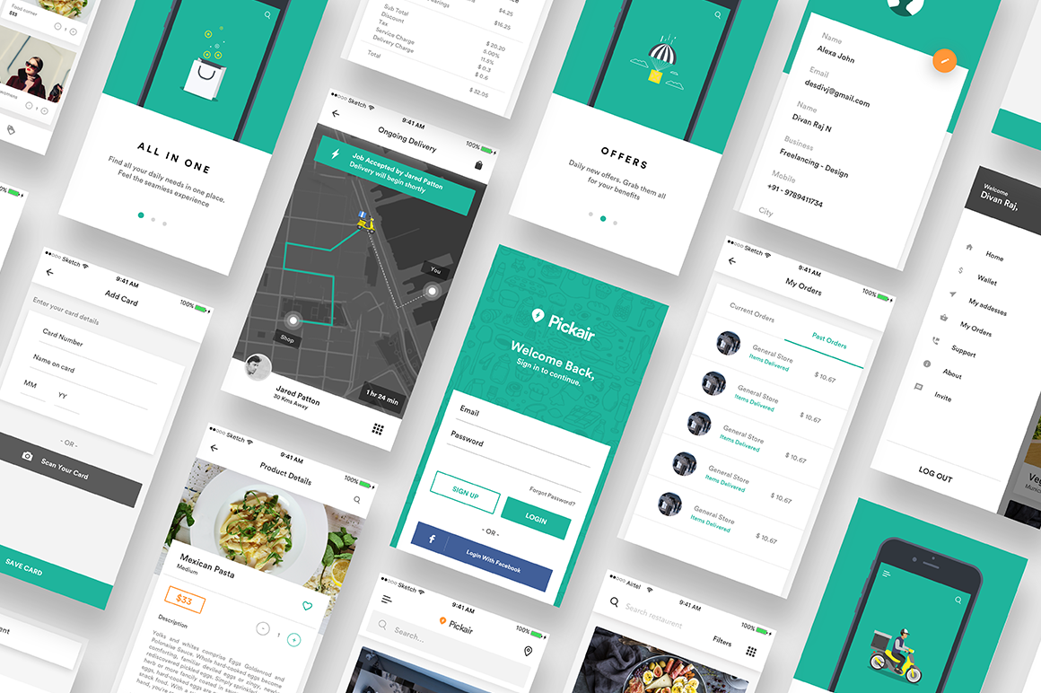 Complete iOS ui kit for delivery app on Behance