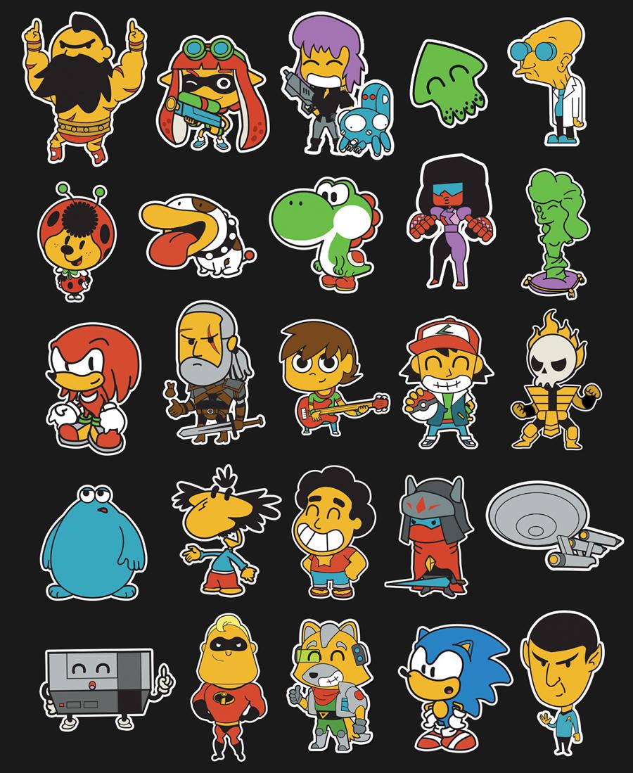 stickers ILLUSTRATION  Videogames series Cartoons comics Nintendo SEGA geek culture