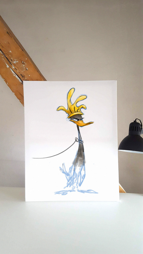 Animation Art art project Character design  daffy duck painting   parody art Pop Art preliminary sketches