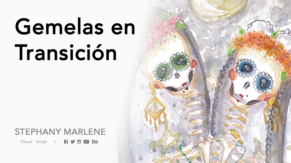 watercolor acuarela skull diademuertos stephanymarlen3 tijuana mexico ILLUSTRATION  dayofthedeath Twins