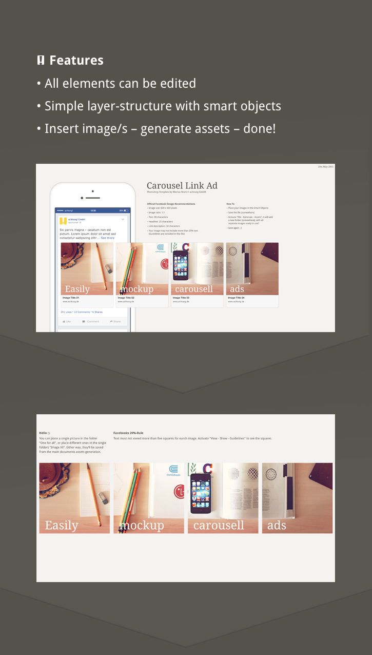Facebook Carousel Link Ad Free Photoshop Template On Behance - Facebook ad template illustrator