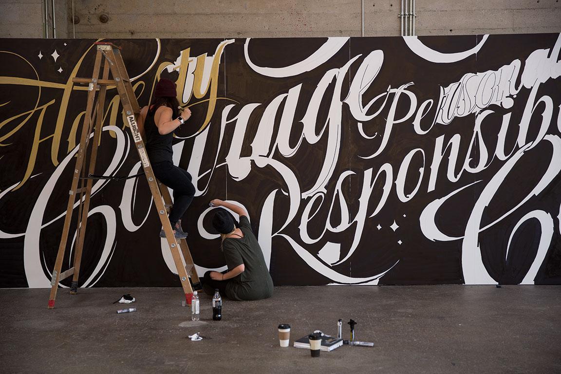 Lululemon type mural on behance for Thank you mural