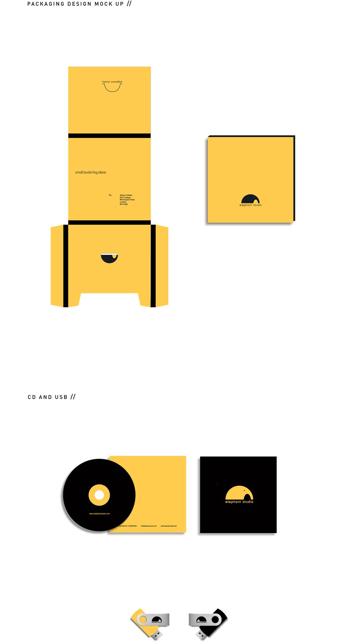 identity logo studio design studio yellow black business card letterhead elephant Stationery Website brand clean Logo Design Logotype