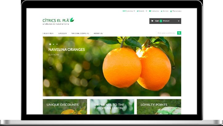 shop theme Shop Redesign  website redesign shop concept citrics el pla oranges tangerines Natural Cosmetics organic fruits local food Responsive Design