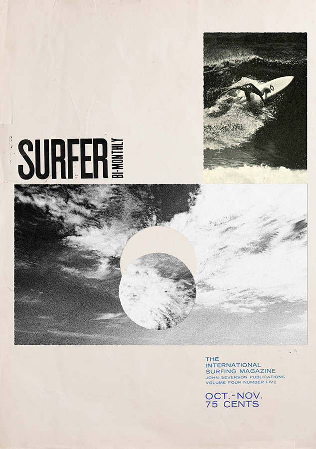 Collage using old Surfer Magazine issues.