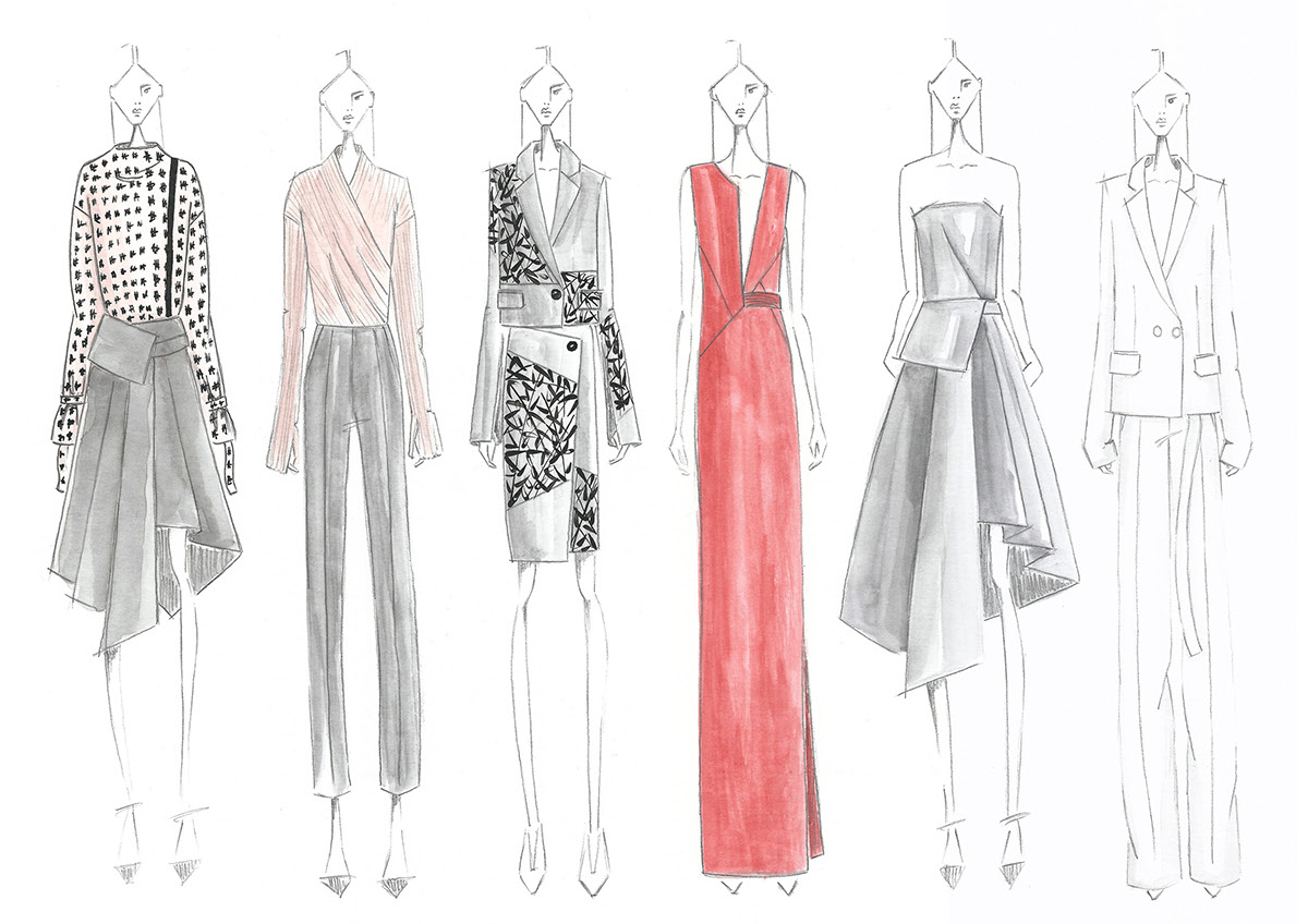 Fashion croquis illustrations on Behance