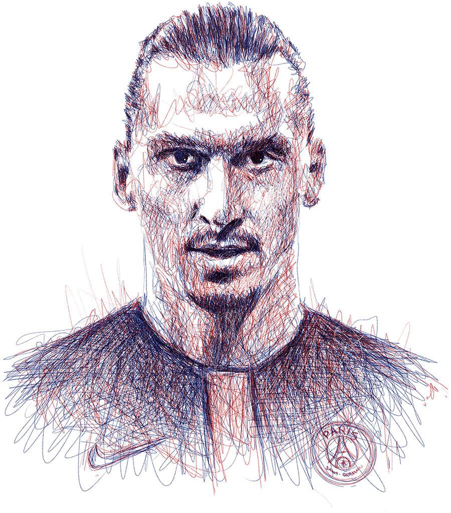 football soccer pencil portraits wacom scribble messi Ronaldo ibrahimovic barcelona Kahn buffon face madrid Juventus
