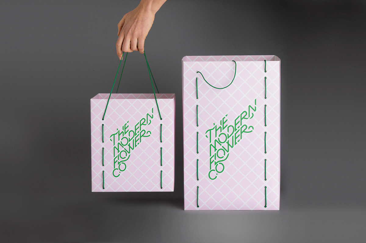 custom typography Bespoke Typography florist bags marque CARRY BAGS  Wrapping paper stickers swing tag ribbon letterhead stationary card